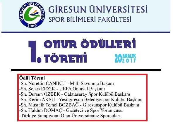 Giresun Üniversitesi Onur Ödülleri dağıtacak