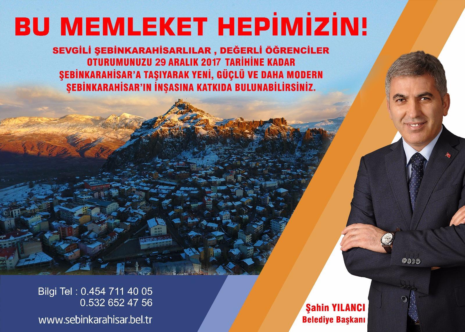 Şebinkarahisar Belediye Başkanı Şahin Yılancı'dan önemli duyuru..